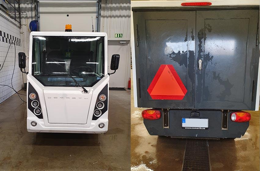Fram och bak Comarth T-Truck arbetsfordon på el