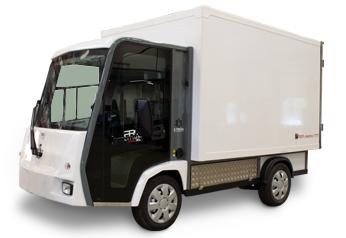 Eldriven lätt lastbil med volymskåp